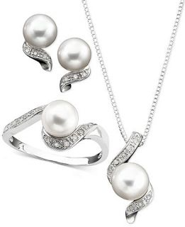 Sterling Silver Pendant, Ring and Earrings Set, Diamond (1/8 ct. t.w.) and Cultured Freshwater Pearl   Jewelry & Watches