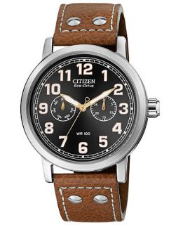 Citizen Mens Eco Drive Brown Leather Strap Watch 43mm AO9030 05E   Watches   Jewelry & Watches