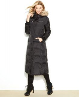MICHAEL Michael Kors Hooded Faux Fur Trim Maxi Puffer Coat   Coats   Women