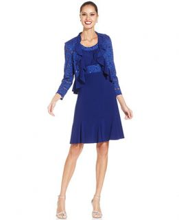 R&M Richards Petite Sleeveless Ruffle Dress and Jacket   Dresses   Women
