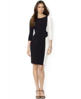 Calvin Klein Long Sleeve Belted Colorblock Sheath Dress   Dresses   Women