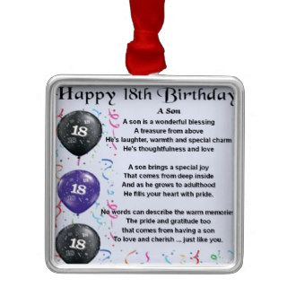 Son Poem 18th Birthday Christmas Ornament