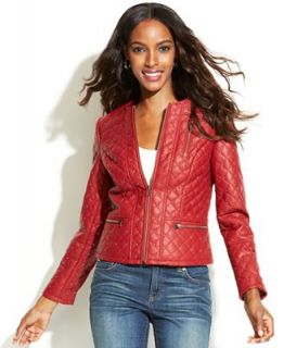 INC International Concepts Studded Quilted Faux Leather Jacket   Jackets & Blazers   Women