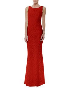 Alice + Olivia Sachi Open Back Lace Gown, Red