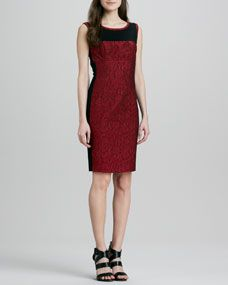 Yoana Baraschi Embroidered Lace Colorblock Sheath Dress