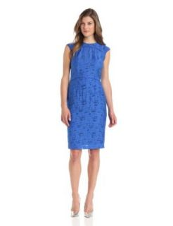 Anne Klein Women's Jacquard Piped Sheath Dress, Azure, 6