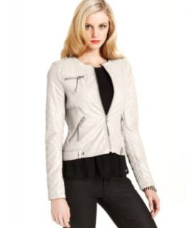 GUESS Elena Faux Leather Moto Jacket   Jackets & Blazers   Women