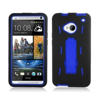 Aimo Wireless HTCM7PCMX202S Guerilla Armor Hybrid Case with Kickstand for HTC One/M7   Retail Packaging   Black/Blue Cell Phones & Accessories