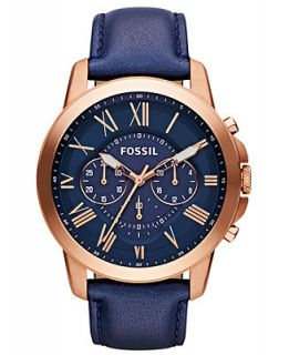 Fossil Mens Grant Navy Leather Strap Watch 44mm FS4835   Watches   Jewelry & Watches