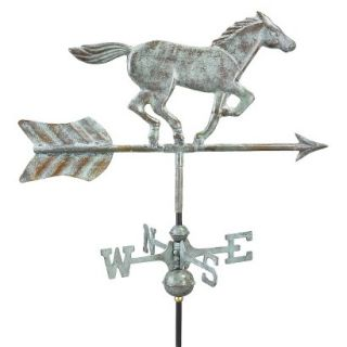 Good Directions Horse Garden Weathervane   Blue Verde Copper w/Roof Mount