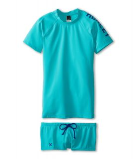 Hurley Kids One Only Solids Rashguard Top Boyshort Girls Swimwear Sets (Blue)