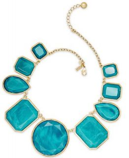 kate spade new york Necklace, Gold Tone Turquoise Colored Stone All Around Statement Necklace   Fashion Jewelry   Jewelry & Watches
