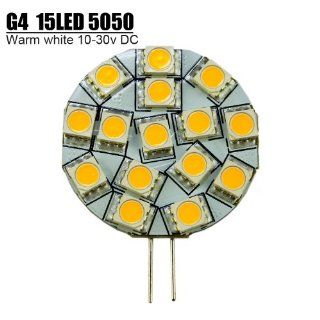 Zitrades Round Shape ,Disc Type G4 Base Side Pin 15 SMD LED, 10 Watt Holagen 197 Lumen Bulb Replacemnt For RV Camper Trailer Boat Marine Warm White,G4, PCB Dia. Approx 40mm, 15 SMD5050 LED,Warm White, Side Pin 10 30V DC Car Light BY ZITRADES Automotive