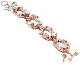 "Betsey Johnson ""Iconic Vintage Rose"" Vintage Link Toggle Bracelet Cuff Bracelets Jewelry"