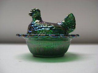 Mini Green Carnival Glass Hen on Nest Chick Salt Covered Dish  Collectible Figurines