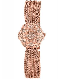 Anne Klein Watch, Womens Flower Case Cover Rose Gold Tone Mesh Layer Bracelet 22mm AK 1046RGCV   Watches   Jewelry & Watches