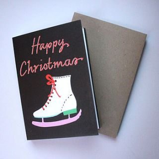 pack of five ice skates christmas card by becky baur