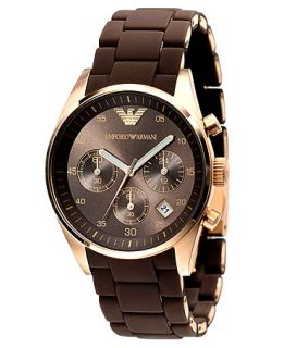 Emporio Armani Watch, Womens Brown Silicone Wrapped Gold Tone Stainless Steel Bracelet AR5891   Watches   Jewelry & Watches