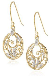 Yellow Gold Plated Sterling Silver Diamond Accent Floral Dangle Earrings Jewelry