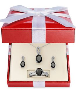 Sterling Silver Necklace, Earring and Ring Set, Onyx (4 1/2 ct. t.w.) and Diamond Accent Pendant, Earring and Ring Set   Necklaces   Jewelry & Watches