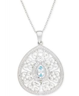 B. Brilliant Sterling Silver Necklace, London Blue Cubic Zirconia Necklace (7 1/3 ct. t.w.)   Necklaces   Jewelry & Watches