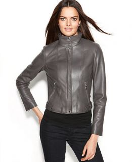 Calvin Klein Seamed Leather Moto Jacket   Jackets & Blazers   Women