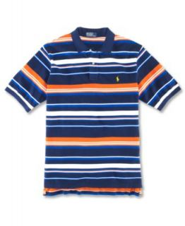 Polo Ralph Lauren Big and Tall Shirt, Classic Fit Short Sleeved Striped Mesh Polo Shirt   Polos   Men