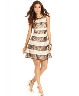 Jessica Simpson Sleeveless Striped Glitter Lace Dress   Dresses   Women