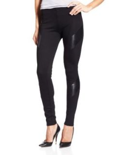 Amanda Uprichard Womens Ponte Vegan Leather Legging, Black, Small Leggings Pants