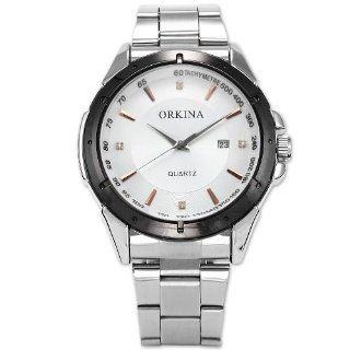 Orkina Mens Silver Stainless Steel White Dial Date Sport Quartz Wrist Watch ORK103 at  Men's Watch store.