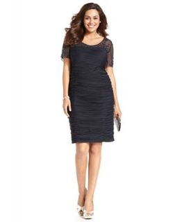 Adrianna Papell Plus Size Dress, Short Sleeve Beaded Ruched   Dresses   Plus Sizes