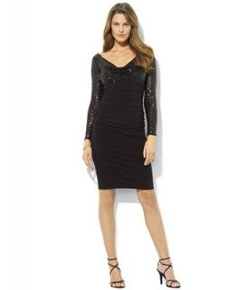 Lauren Ralph Lauren Dress, Long Sleeve Sequin Cowl Neck Jersey   Dresses   Women