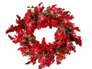 GKI Bethlehem Lighting Red Berry 30 Inch Christmas Christmas Wreath with 100 Red Mini