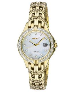 Seiko Watch, Womens Solar Gold Tone Stainless Steel Bracelet 27mm SUT086   Watches   Jewelry & Watches