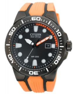 Citizen Mens Eco Drive Scuba Fin Black and Green Rubber Strap Watch 46mm BN0090 01E   Watches   Jewelry & Watches