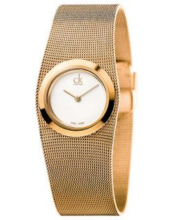 Calvin Klein Womens Swiss Impulsive Rose Gold PVD Stainless Steel Mesh Bracelet Watch 27mm K3T23626   Watches   Jewelry & Watches