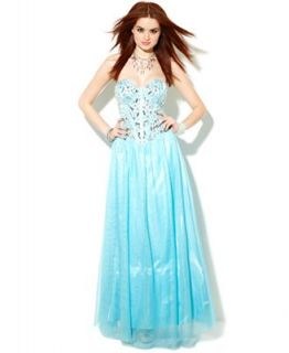 B Darlin Juniors Dress, Strapless Bustier Gown   Juniors Dresses