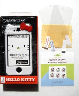 "Hello Kitty Sanrio ""CHARACTER"" Hard Case Cover (WHITE) For Apple iPhone 4 or iPhone 4S In Kitty's Retail Box, *** BONUS WITH 2 PCS. TRANSPARENT CLEAR FRONT LED SCREEN PRTECTOR AND BACK COVER PROTECTOR + 6 pcs. Hello Kity Gel Home Button Stic"