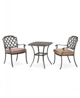 Vintage Outdoor 3 Piece Set 26 Square Dining Table and 2 Dining Chairs   Furniture
