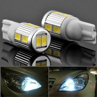 Pair of T10 168 194 2825 2825LL W5W W5WB Canbus Error Free Wide Angle Wedge Xenon White 10 SMD LED Parking Position Eyelid License Plate Light Bulb For Toyota Honda Nissan Mazda Subaru Car Sedan Coupe Vehicle Automotive
