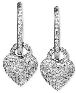 Diamond Earrings, Sterling Silver Diamond Heart Charm Hoop Earrings (1/4 ct. t.w.)   Earrings   Jewelry & Watches