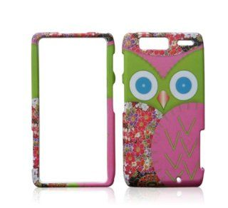 MOTOTOLA DROID RAZR MAXX BLUE EYES OWL GREEN PINK FEATHER FLOWERS BIRD RUBBERIZED HARD COVER CASE SNAP ON Cell Phones & Accessories