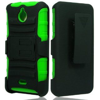 Black Green Rhino Holster Hybrid Gel Case for Huawei H881C Ascend Plus/Valiant + Accessory Kit Cell Phones & Accessories