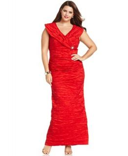 Alex Evenings Plus Size Dress, Cap Sleeve Portrait Collar Evening Gown   Dresses   Plus Sizes
