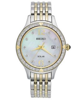 Seiko Watch, Womens Solar Diamond Accent Two Tone Stainless Steel Bracelet 29mm SUT092   Watches   Jewelry & Watches