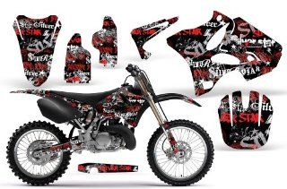 Silver Haze AMRRACING MX Graphics decal kit fits Yamaha YZ 125/250 (2002 2013) Red Black BG Automotive