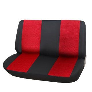 ADECO 12AD159 Car Vehicle Bench Seat Cover   Universal Fit, Black and Red Color, Interior Decoration   Automotive Universal Fit Seat Covers