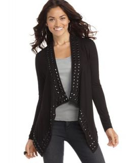 GUESS? Sweater, Open Front Long Sleeve Studded Cardigan   Sweaters   Women