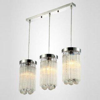 Modern Crystal Ball Hanging Porch Ceiling Light Clear Glass Sticks Round 3 Lights Dining Room Pendant lamps (3 heads rectangle top)   Ceiling Pendant Fixtures
