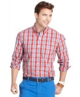 Izod Big and Tall Shirt, Essential Long Sleeve End on End Checked Shirt   Casual Button Down Shirts   Men